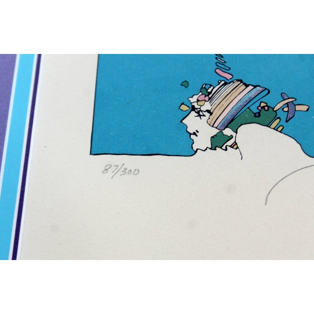 1970s Mid-Century Modern Framed Peter Max Signed Lithograph Winters Dream 87/300 For Sale - Image 5 of 7