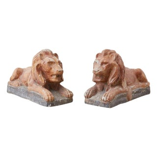 Pair of Neoclassical Cast Stone Recumbent Lion Sculptures For Sale