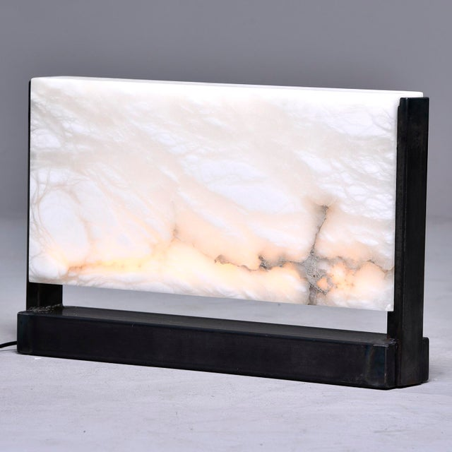 Hand Carved Italian Alabaster Rectangular Led Table Lamp For Sale - Image 13 of 13