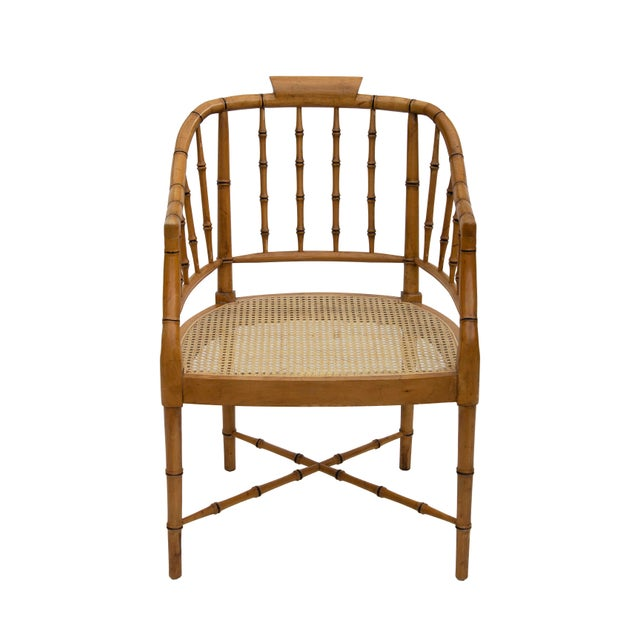 Faux Bamboo Armchair With Caned Seat For Sale - Image 6 of 10