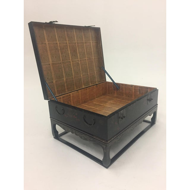 Asian Black Laquer Box on Custom Stand Coffee Table For Sale - Image 11 of 13