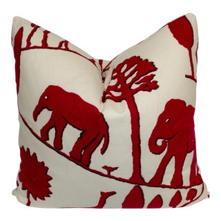 Contemporary Clarence House Cotton Elephant Pillow For Sale