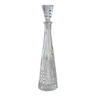 Vintage Modern Crystal DecanterDesign Tall Cut Crystal Glass - 5th Ave Crystal For Sale
