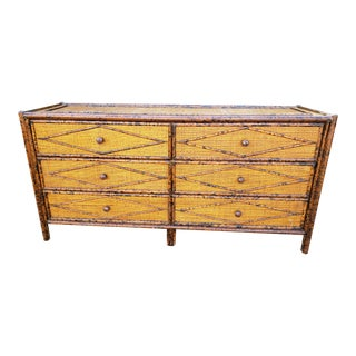 Vintage British Colonial Style Faux Bamboo Large Dresser For Sale
