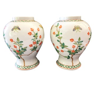 Famille Rose Porcelain Vases Saks Fifth Ave For Sale