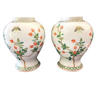 """Famille Rose Porcelain Vases Saks Fifth Ave 8.75"""" H For Sale"""