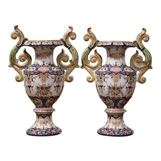 Pair of 19th Century French Hand Painted Faience Vases From Rouen For Sale