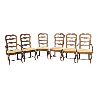 Vintage French Country Style Oak Ladder Back Dining Chairs - Set of 6