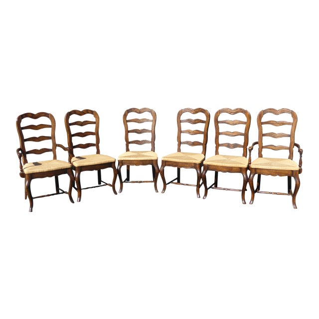 Vintage French Country Style Oak Ladder Back Dining Chairs Set Of
