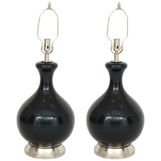 1950s Eglomise Black & Navy Blown Glass Lamps - a Pair For Sale