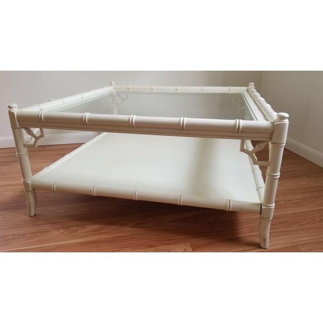 1970s Hollywood Regency Thomasville Square Bamboo Coffee Table For Sale - Image 10 of 13