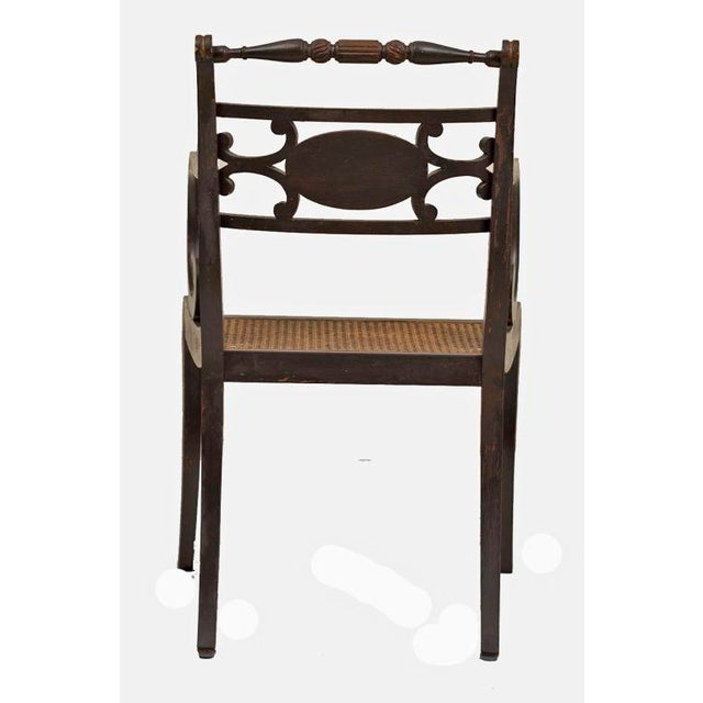 Caning 19th Century Regency Style Fancy Painted Armchairs - a Pair For Sale - Image 7 of 8