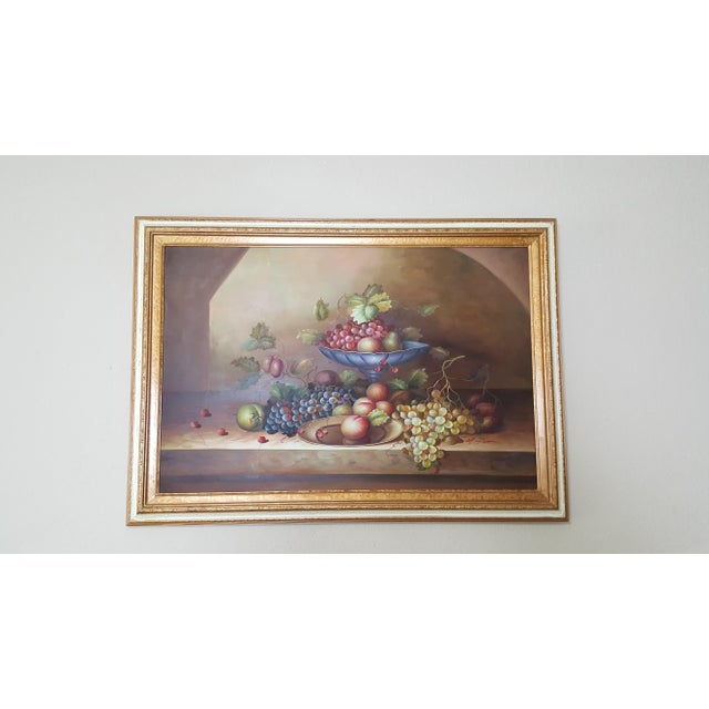Expressionism Large Still Life Oil Painting on Canvas Signed M. Aaron For Sale - Image 3 of 8