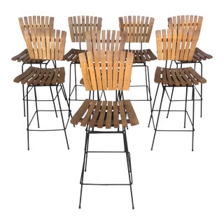 Mid-Century Slat Stools, Umanoff Style- Set of Four For Sale