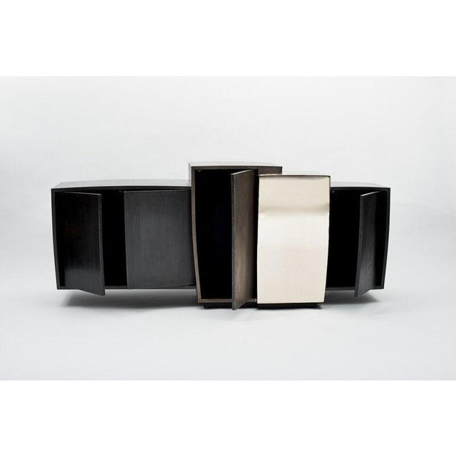 Gary Magakis Gary Magakis, Blackened Steel Console with Grained and Mirrored Bronze, USA, 2015 For Sale - Image 4 of 10