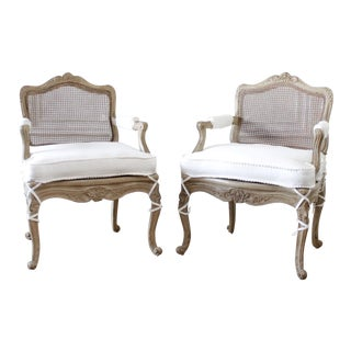 Pair of Antique French Arm Chairs in Original Painted Finish and White Linen For Sale