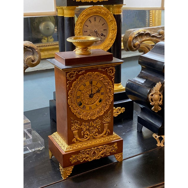 French 19th Century French Empire Ormolu Style Clock For Sale - Image 3 of 9