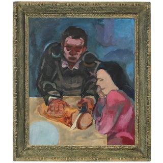 Martin Snipper Expressionist Kitchen Table Scene in Oil, 1940s Circa 1940s For Sale