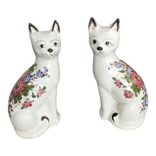 Vintage Fornasetti Style Porcelain Cats, Signed Italy - a Pair For Sale