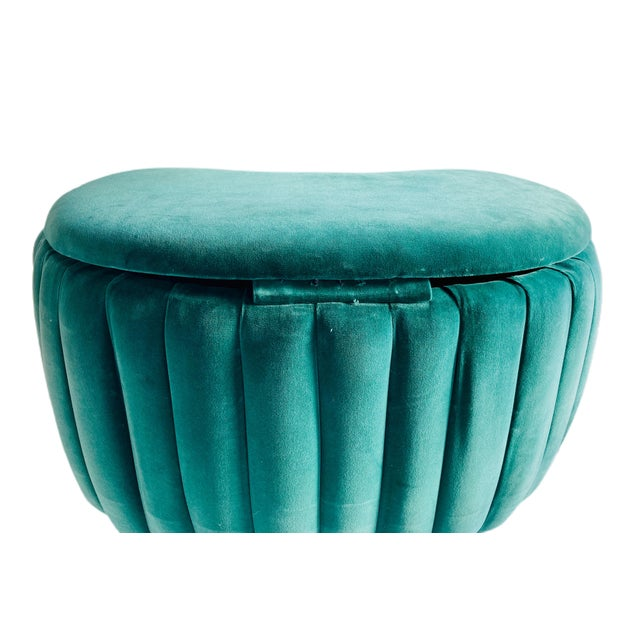 Art Deco Vintage Upholstered Storage Ottoman and Bench For Sale - Image 3 of 10