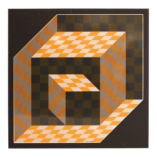 "1977 Victor Vasarely, ""Axo"" Screen Printing on Aluminum"