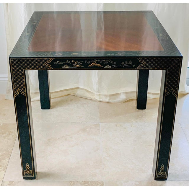 Vintage Drexel Heritage Et Cetera Chinoiserie Lacquer End Side Squared Table For Sale - Image 13 of 13