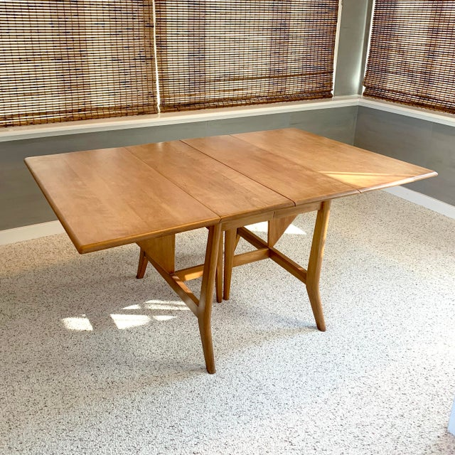 Mid-Century Modern Heywood-Wakefield Harmonic Drop Leaf Dining Table Set - 7 Pieces For Sale - Image 9 of 13