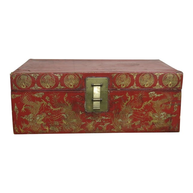 Antique Chinese Leather Trunk For Sale