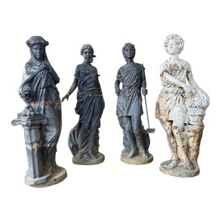 "The ""Four Seasons"" Vestal Virgins Iron Garden Statues - Set of 4 For Sale"