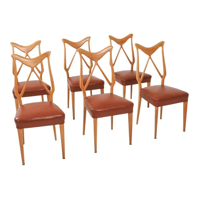 1970s Oak & Leather Dining Chairs in the Style of Ponti - Set of 6 For Sale