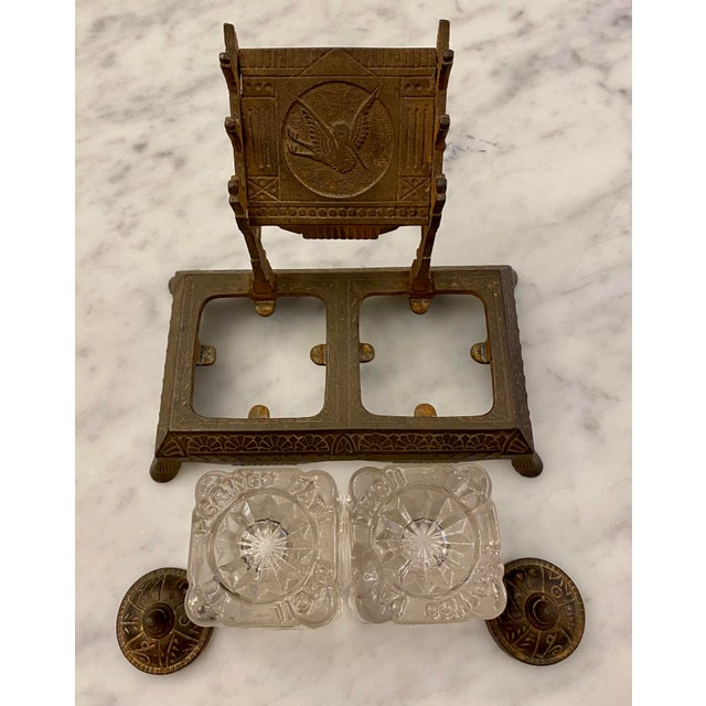 Late 19th Century 1877 Victorian Cast Iron and Pressed Glass Double Inkwell For Sale - Image 5 of 13
