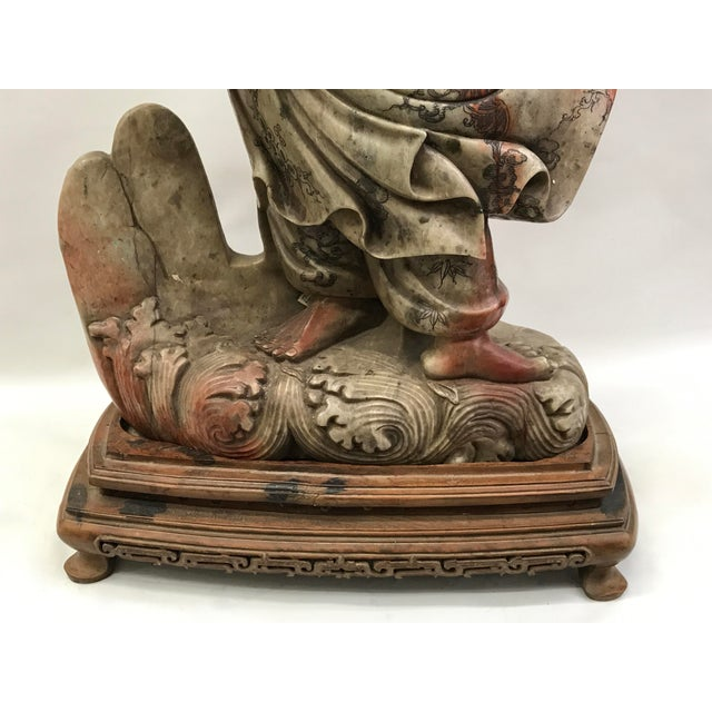 Chinese Art Carved Soapstone Monk With Wood Stand For Sale - Image 4 of 10