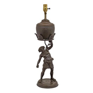Grand Tour Bronze Figure Oil Lamp For Sale