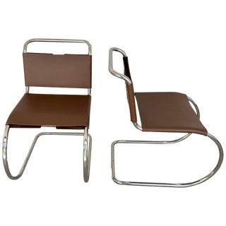 Pair of Knoll Mr Chair, Stamped Knoll & Mies Van Der Rohe, Light Brown Cowhide For Sale