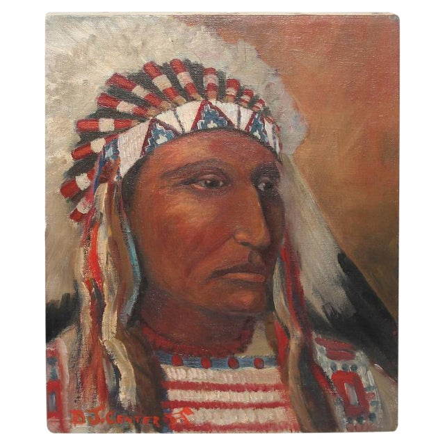 early 20th c. Black Foot Chief Indian oil Painting - Image 1 of 4