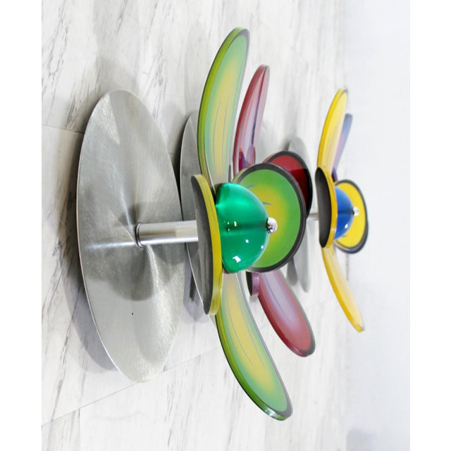 Shlomi Haziza Contemporary Polished Metal Colored Lucite Acrylic Flower Wall Sculpture Haziza For Sale - Image 4 of 7