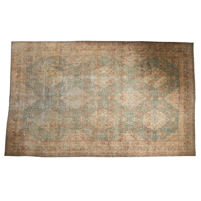 Vintage Distressed Kerman Carpet - 10' X 16' For Sale
