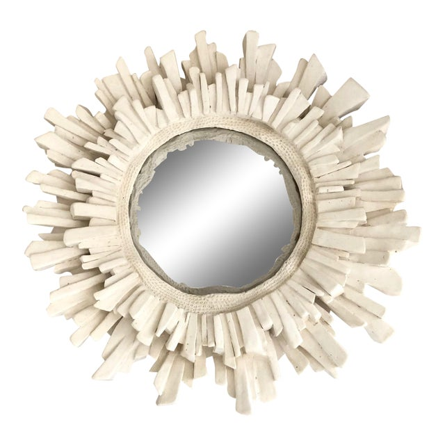 French Plaster Sunburst Mirror For Sale