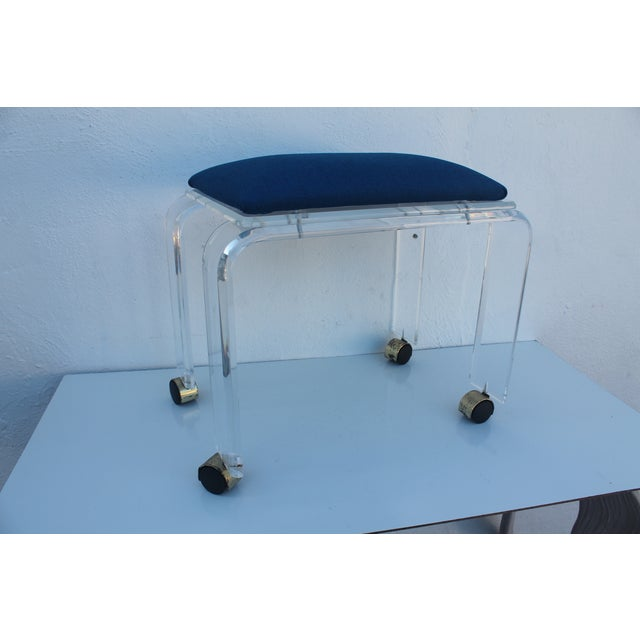 Blue Vintage Lucite Vanity Stool For Sale - Image 8 of 9