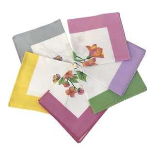 Mid-Century Modern Napkins With Floral Motif - Set of 6 For Sale