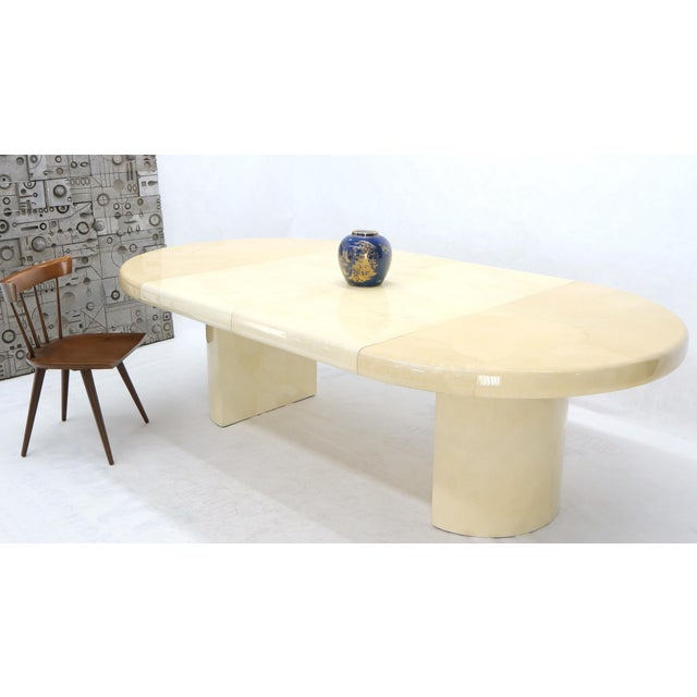Large Round Lacquered Parchment Goat Skin Cylinder Base Dining Table 2 Leaves For Sale - Image 6 of 13