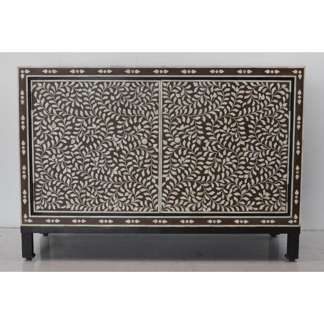 Wood Moroccan Inspired Bone Inlay Cabinet For Sale - Image 7 of 7