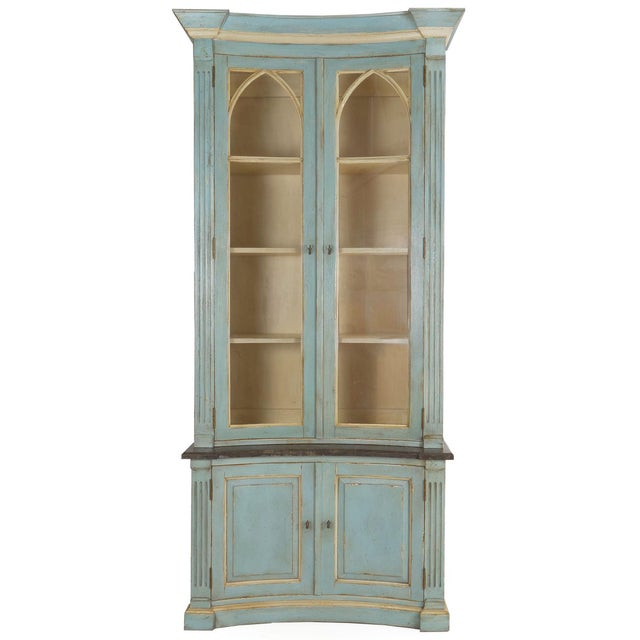 Swedish Gustavian Style Blue Painted Bookshelf Cabinet Bookcase by Lillian August For Sale - Image 13 of 13