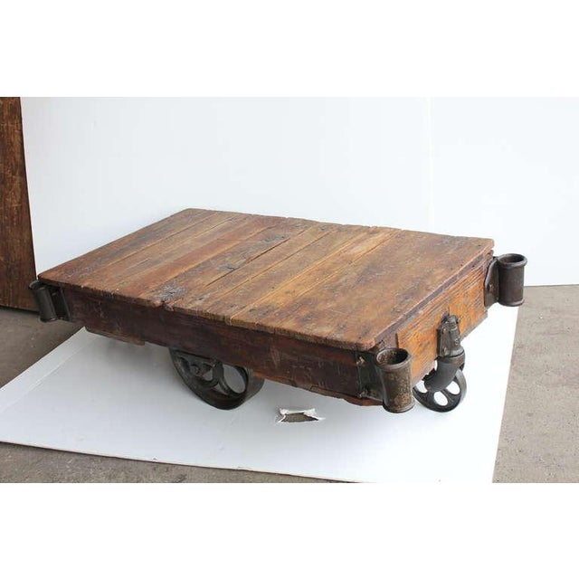 Early 20th C. Vintage American Industrial Cart Coffee Table For Sale - Image 4 of 5