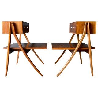 Walnut Floating a Frame Nightstands by Kipp Stewart for Drexel-a Pair For Sale