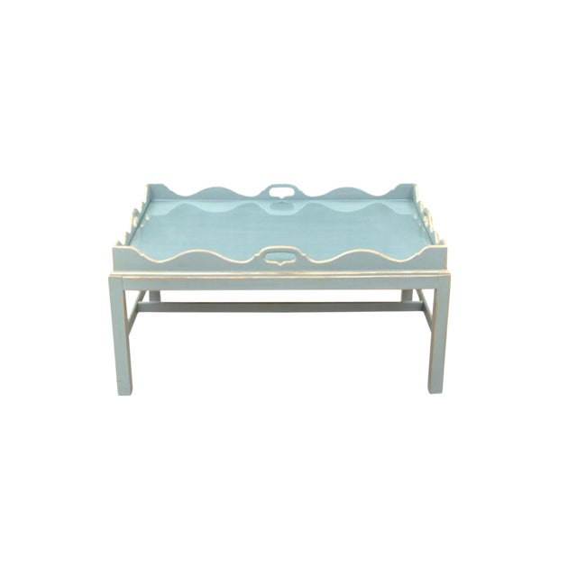 Shabby Chic Lexington Scalloped Cocktail Tray Table For Sale