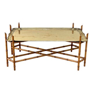 Heavy Brass and Faux Bamboo Wood Coffee Table For Sale