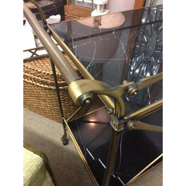 Mid Century Modern Brass & Marble Bar Cart - Image 8 of 9