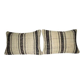 Set of Two Striped Turkish Lumbar Pillow Cover, Pair Oblong Chair Decor, Tribal Bohemian Decor 14'' X 20'' (35 X 50 Cm) For Sale