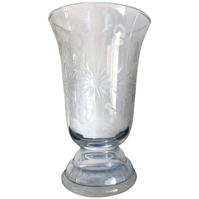 20th Art Deco Etched Glass Vase with Ornamental Motifs - Image 3 of 3